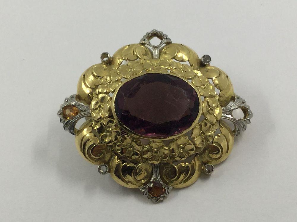 garantía de alta calidad niño claro y distintivo Broche de oro y piedras de color